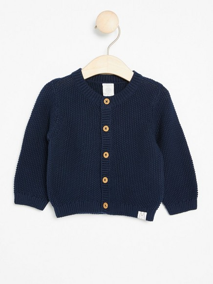 Moss Knit Cardigan Blue