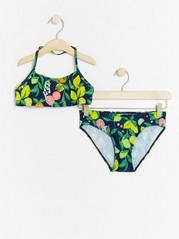 Bikini med citrusfrukt-mönster Blå