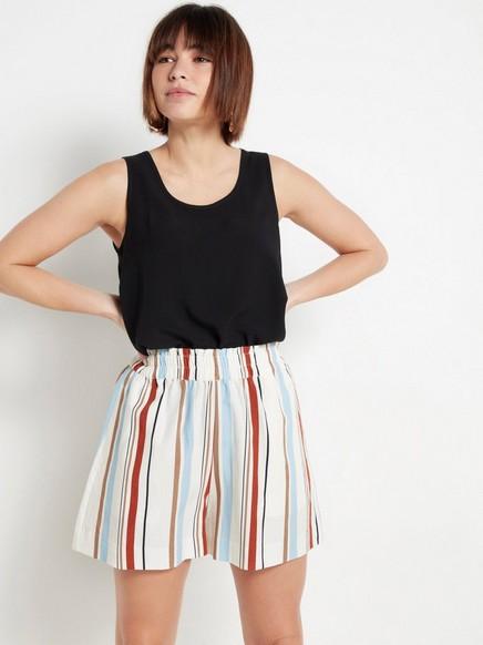 Stripet shorts i lyocellblanding Hvit