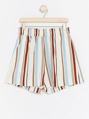 Striped Lyocell Blend Shorts  White