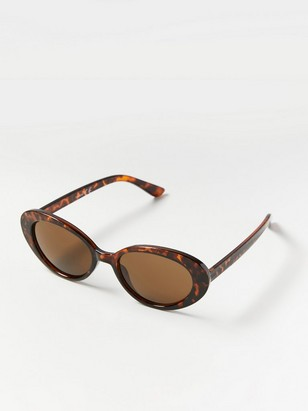 Round Cat Eye Sunglasses Brown