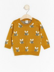 Knit Sweater with Bumblebees Yellow