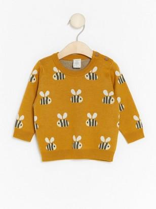 Pletený svetr se vzorem čmeláků Žlutá