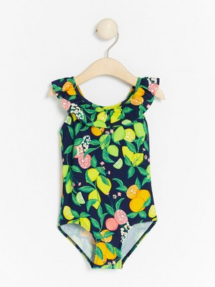 Patterned Swimsuit with Frill Blue