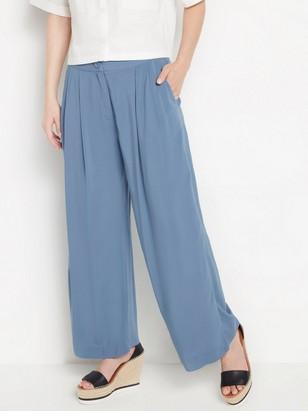 Modré kalhoty svysokým pasem Modrá
