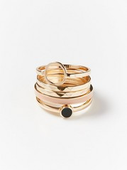 5-pack Gold Coloured Rings  Pink
