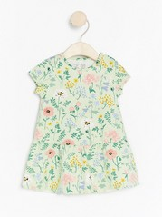 Floral short sleeve jersey dress Green