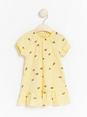 Yellow jersey dress with bees Yellow