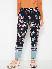 AVA Tapered Trousers with Flowers Black