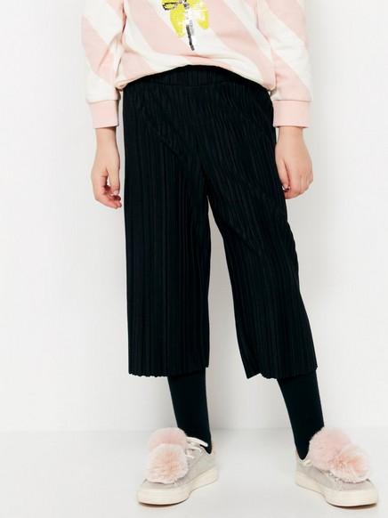 Mustat pliseeratut housut Musta
