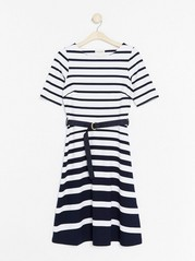 Striped Dress with Belt  White