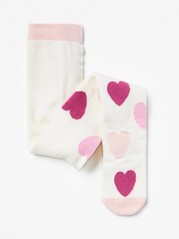 Tights with Heart Pattern White
