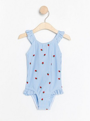 Striped swimsuit with strawberries Blue