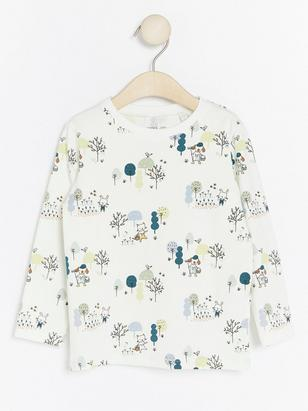 Long Sleeve Top with Pattern White