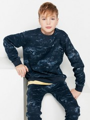 Sweatshirt with Abstract Pattern Blue