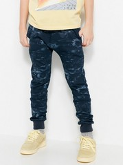 Sweatpants with Abstract Pattern Blue