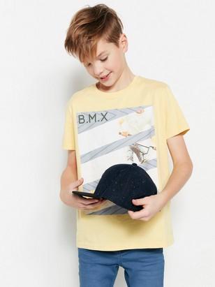 T-paita, jossa painatus Keltainen