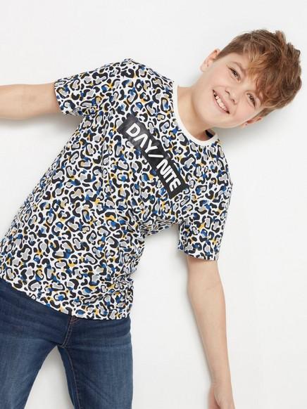 T-skjorte med heldekkende mønster Hvit
