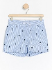 Striped swim shorts with palm tree embroidery Blue