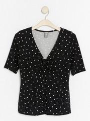 V-neck Jersey Top in Lyocell Blend  Black