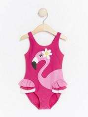 Rosa baddräkt med flamingo Rosa