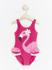 Rosa badedrakt med flamingo Rosa