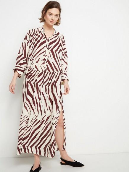 Seeprakuvioitu mekko Valkoinen