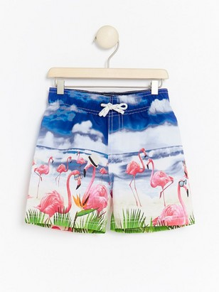 Swim shorts with flamingo print Beige