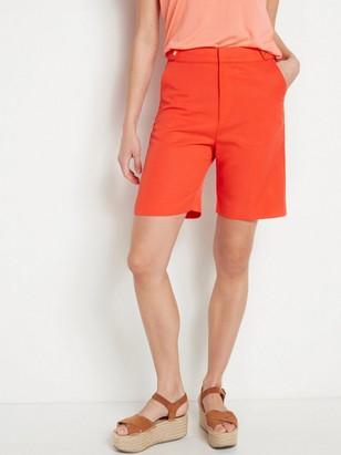 Červené šortky svysokým pasem Oranžová