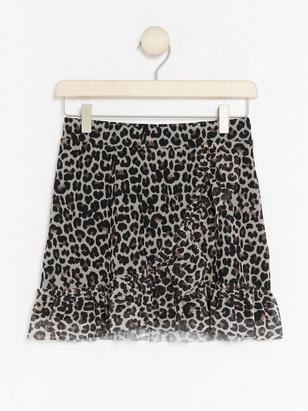 Wrap Skirt with Leo Pattern Black