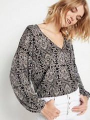 Patterned Long Sleeve Top in Lyocell Blend  Black