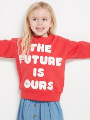 Sweater with Text Print Red
