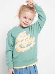 Sweater with Text Print Green