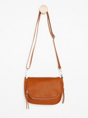 Small Shoulder Bag with Zip Details Brown