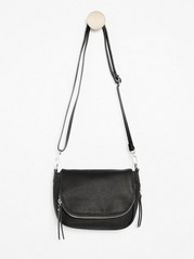 Small Shoulder Bag with Zip Details Black
