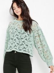 Velvet Lace Top  Green