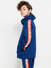 Hooded Sweater with Side Stripes Blue