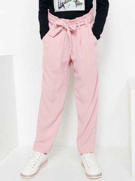 Løstsittende bukse med knytebelte Rosa