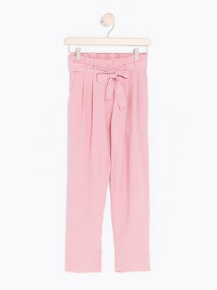 Loose Trousers with Tie Belt Pink