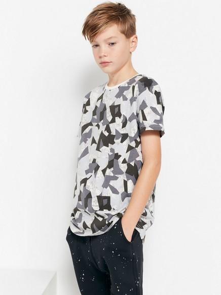 T-skjorte med abstrakt mønster Hvit