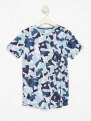 T-shirt with Abstract Pattern Blue