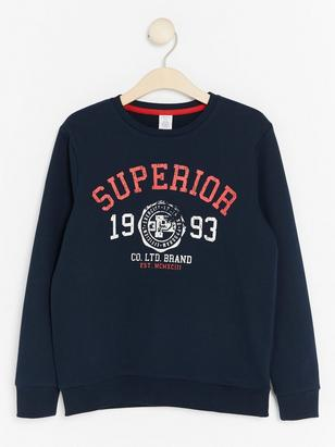 Sweatshirt with Print to Front Blue