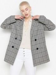 Checkered Coat  Beige