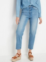 High-waist Jeans with Straight, Cropped Legs  Blue