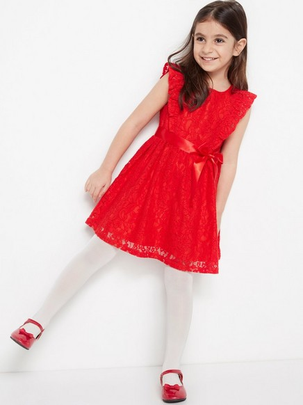 Kjole med blonder Rød