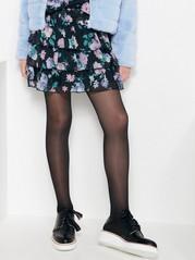 Floral Chiffon Flounce Skirt Black