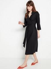 Black Linen Blend Wrap Dress  Black