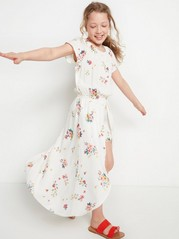 Floral Viscose Dress with Shorts White