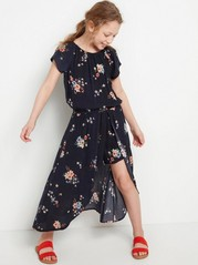 Floral Viscose Dress with Shorts Black