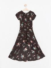 Floral Viscose Dress with Shorts Black